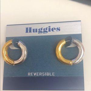 """1"""" Revesible Gold or Silver Hoop Sample Earring"""